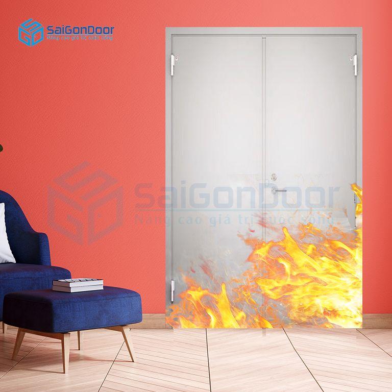 Cửa thép ngăn cháy 2 cánh cho văn phòng 2p tay nắm cửa